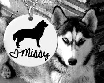 Siberian Husky Necklace   Siberian Husky Jewelry   Personalized Dog Necklace   Personalized Gifts   Korena Loves