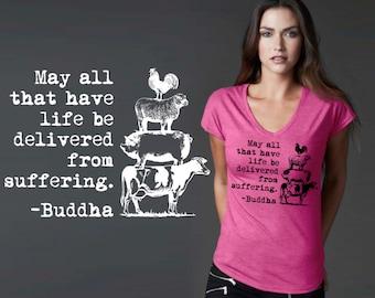 May All Have Life | Vegan Gift | Vegan Shirt | Vegan T-shirt | Buddha Quotes | Quote Shirt | Inspirational T-shirt | Korena Loves