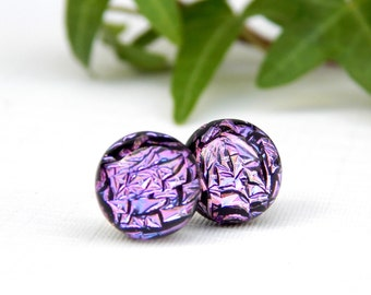 Mauve Stud Earrings - Dichroic Earrings - Purple Fused Glass Jewelry - Sterling Silver Post Earrings - MADE TO ORDER