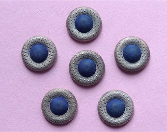 Metal & textile buttons, set of 6, antique.  Pressed metal, a chequered type design, convex with a blue domed textile centre. 19th. cent.