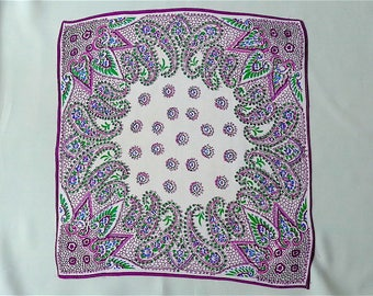 Handkerchief, vintage.   A paisley design, in shades of purples, green, blue & white, silk. very pretty. c1930's.