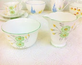 Hand Painted Art Deco Green Creamer and Sugar Bowl