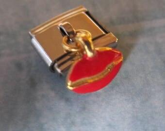 Red Lips Kiss Dangling 9mm Italian Style Nomination Bracelet Charm Stainless Steel Bracelet Making Silver Toned single charm dangler