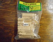 Vintage Wooden Dollipins Miniature Flat Clothespins Crafts Model Making Ornaments Dollhouse Accessory Made in USA Unopened Package of 50