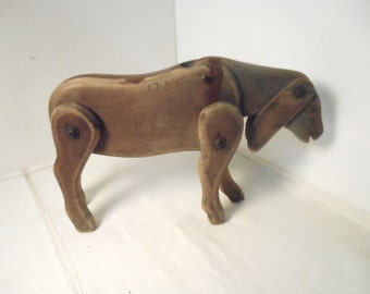 Antique Primitive Wooden Donkey Toy Stands Legs & Ears, Head Pivot Old Animal Farmhouse Americana Decor