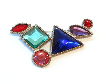 "Large Vintage Art Deco Pin Brooch Colorful Plastic ""Stones"" Gold Tone Metal w Mirrored Open Backs Geometric Shapes Scarf Clip"