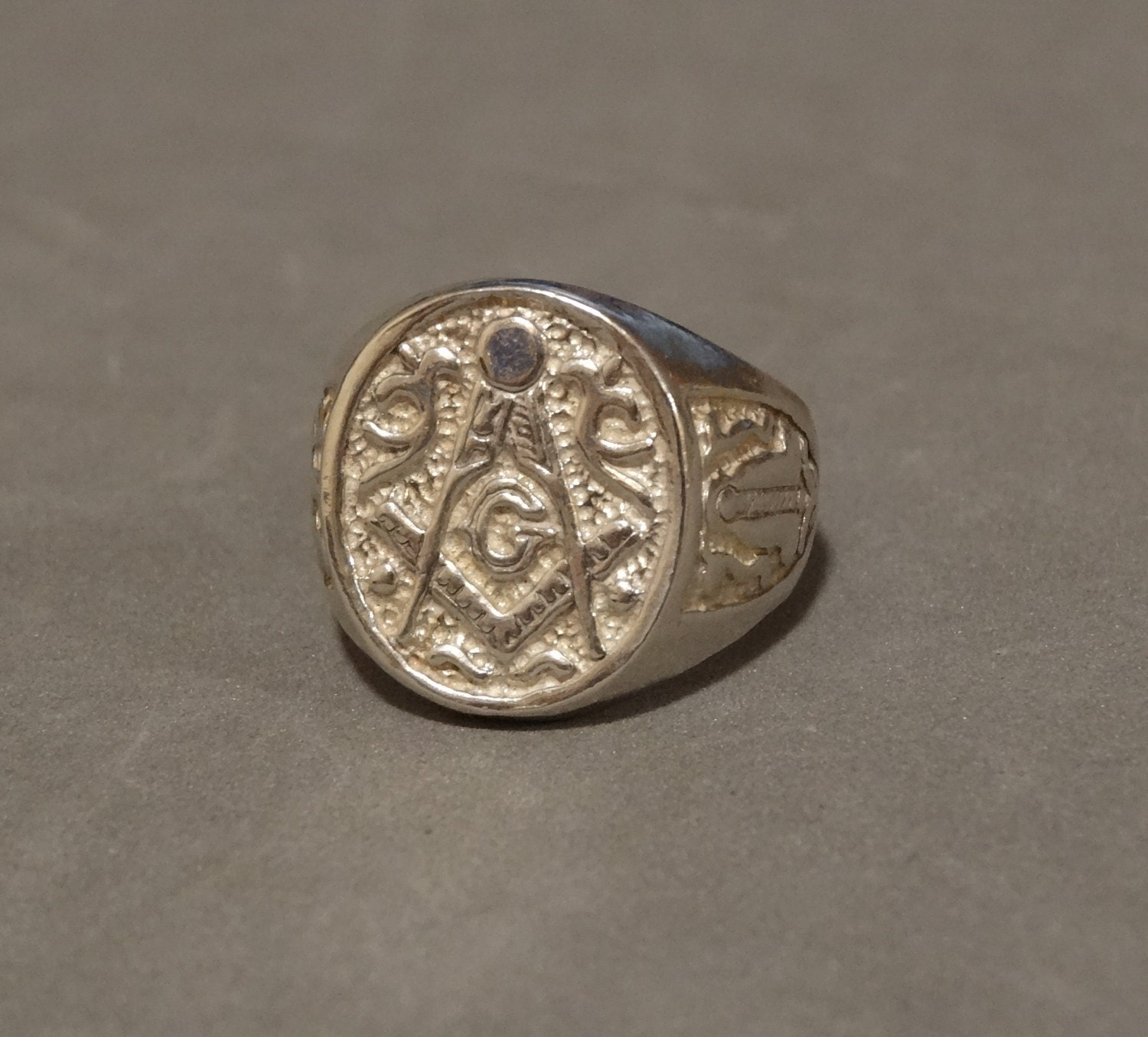 vintage ring sterling silver masonic by