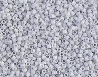 11/0 Miyuki Matte Opaque Pale Blue Gray Delica Seed Beads DB357 - Matte Opaque Pale Blue Gray Delica 357 - 6 Grams - Delica 357 Grey