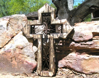 Large White distressed wall cross, christian art, unique religious gift, handmade usa, 0115