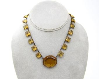 Anna Wintour Necklace  antique collet Wintour Necklace art deco Czech 1920s necklace topaz