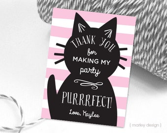 Kitty Party Favor Tags Kitty Favor Tags Printable Kitty Birthday Tags Kitty Thank You Tags Cat Favor Tag Cat Thank You Tag Kitty Party Decor