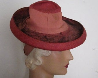 SALE - Lula - 1930's Red and Pink Straw Tilt Hat with Asymmetrical Crown