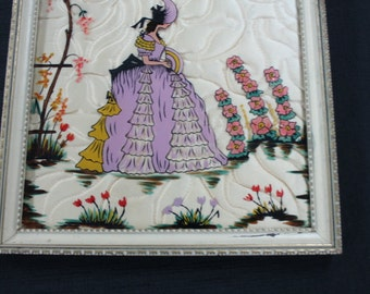 vintage Victorian lady quilted picture reverse painted glass