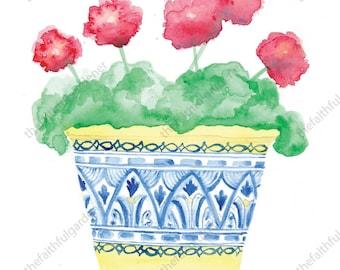Blue and Yellow Pot Watercolor Art Print