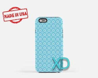 Blue Star Phone Case, Blue Star iPhone Case, Outline iPhone 7 Case, White, Outline iPhone 8 Case, Blue Star Tough Case, Clear Case, Stencil