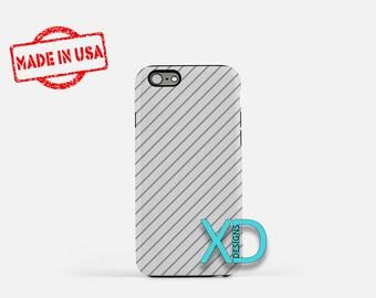 Gray Stripe Phone Case, Gray Stripe iPhone Case, Pinstripe iPhone 7 Case, Gray, Pinstripe iPhone 8 Case, Gray Stripe Tough Case, Clear Case