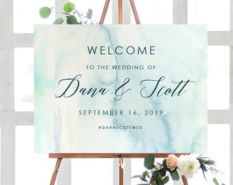 HUE SKY Wedding Welcome Poster | Wedding Welcome Sign | Printable Wedding Poster | Printed Poster | Watercolor Wedding Welcome Sign