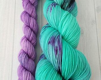 "Hand dyed ""Ariel"" superwash merino sock yarn set"
