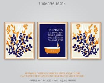 Bathroom Art Prints, Happiness is a Long Hot Bubble Bath Glass of Wine, Floral Art Prints Set of (3) MANY SIZES, Navy Orange Burnt, UNFRAMED