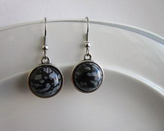 Silver nickel free genuine stone snowflake obsidian - stainless steel nickel free hook - snowflake obsidian jewelry - genuine stone jewelry