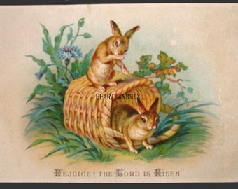 Vintage Easter Post Card Digital Download Printable Art Graphic Image Rejoice the Lord is risen