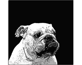 Custom Black and White dog portrait - personalized pet portrait - digital