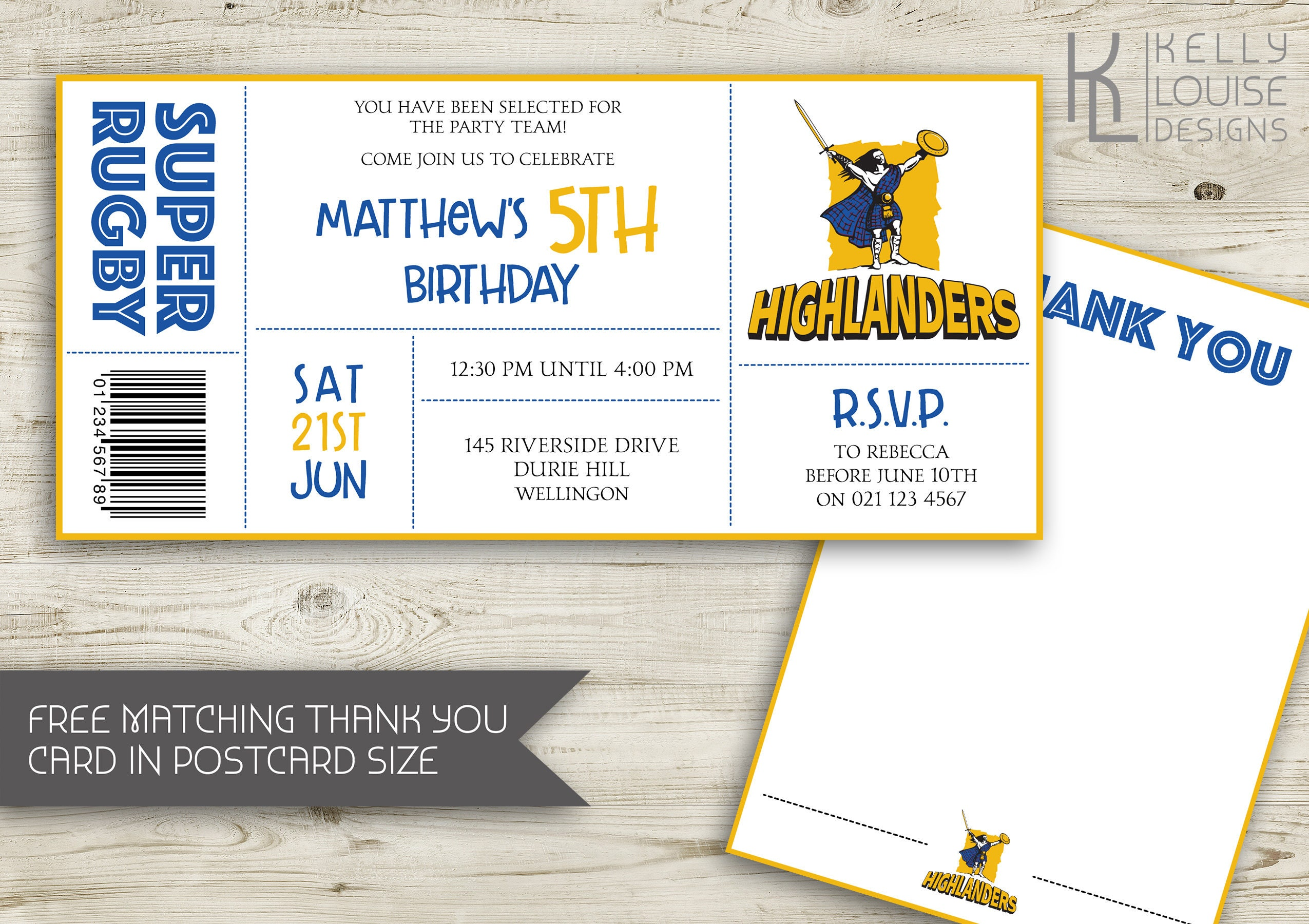 Highlanders Birthday Invitation Rugby Birthday Party - Birthday invitation nz