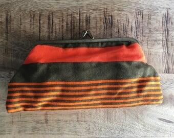 Vintage Bittersweet, Orange and Brown Multicoloured Horizontal Stripes Cotton Purse