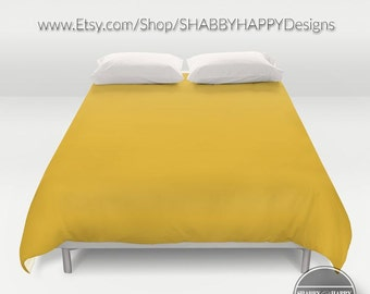 Solid Color MUSTARD yellow /Choice of Duvet Cover or Comforter /Bedding Modern  Art 2nd ships Free! Full,Queen (XL Twin) & King