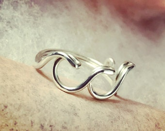 Ocean Waves Ring thick sterling Silver Wire