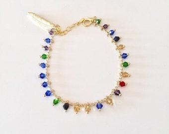 Beaded chain bracelet, multicolour beads bracelet, feather pendant, feather bracelet, bohemian jewelry, Gold feather, layering bracelet