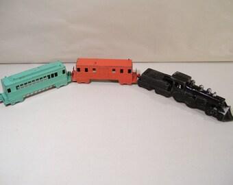 Vintage Midgetoy Train Die-cast Toy, Locomotive Engine, Coal Car, PassengerCar