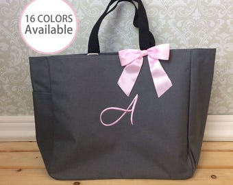 6 Monogrammed Tote Bags, Personalized Tote Bag, Bridesmaid Gift, Embroidered Tote Bag, Essential tote bag
