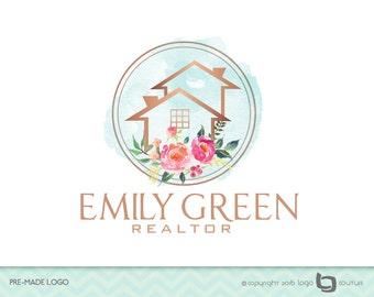 Premade Real Estate Company Logo - Real Estate Logo - WaterColor Flowers - House Logo - Realtor Logo - Fancy Logo