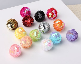 30pcs Mix Colors Assorted Colors, 2.2cm, Sequin Pom Pom, Sparkle pom pom, Small Balls, Pom Pom, Sequin Ball, Pom Pom Supplies DIY