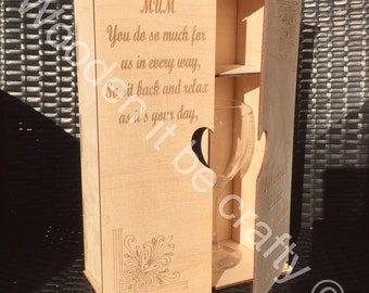 Personalised Prosseco Bottle, Glass & Gift Wooden Laser Cut Gift Box