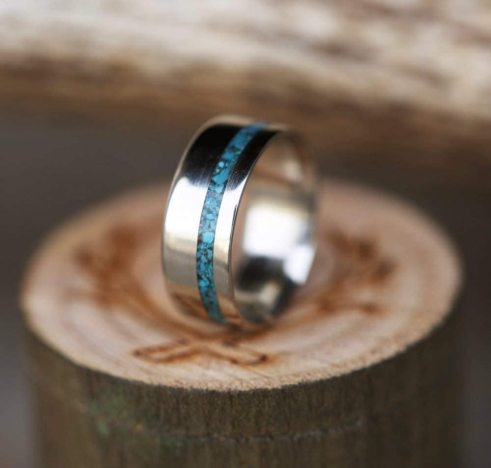 Mens Wedding Band Titanium And Turquoise Ring Staghead