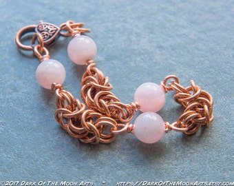 Copper Byzantine Chain Maille Bracelet with Rose Quartz Beads and Knotwork Heart Clasp