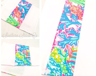 Burp Cloth set in Lilly Pulitzer Lovers Coral