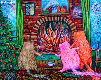 Original Painting Warm Cats