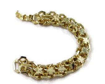 ON SALE Vintage Shamrock Gold Tone Reversible Bracelet