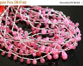 Sale AAA pink sapphire teardrop gemstone briolette- faceted fancy sapphire tear drop-September birthstone briolette- 6 Pcs-8-9 mm No. 641