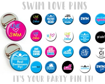 Swimming Swimmer Party Favors 1 inch pinback button or flatback button, pin badge Swim Theme Party