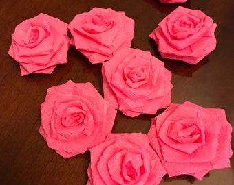 8 Pink Paper Roses - Hot Pink Roses / Wedding Roses / Crepe Paper Roses / Wedding Decor / Table Decor