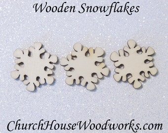 50 SMALL Snowflake Wood Christmas Ornament Supplies Confetti- DIY Wooden Christmas Crafts To Paint On- 1 Inch Snowflakes