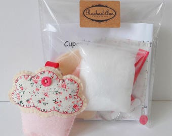DIY cupcake keyring/cupcake keychain/cupcake pattern/felt cupcake/sew your own cupcake/felt crafts/make your own/craft kits/sewing projects