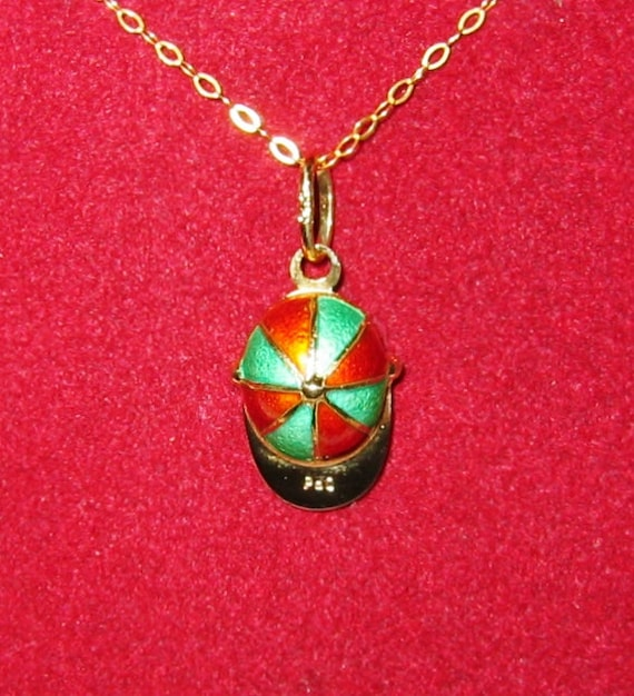 "9K Solid Yellow Gold, Enamel ""Baseball Cap"" Pendent or Charm...CUTE !"