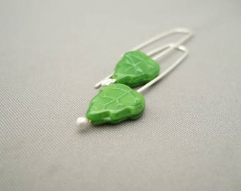 Bright Green Autumn Leaf Czech Glass and Sterling Silver Modern Earrings