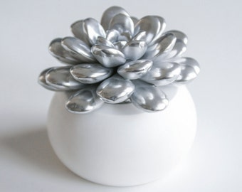 Succulent Sculpture Unique Succulent Gift Indoor Planter Modern Minimalist Home Office Decor Desktop Accessories Silver Chrome