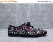 Vtg 90s Black Neon Novelty Graffiti Club Kids Sneakers Shoes 10